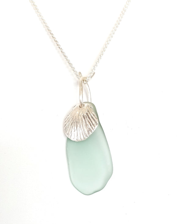 Duck Egg Blue Seaglass & Handcarved Seashell Pendant on Sterling Silver Chain