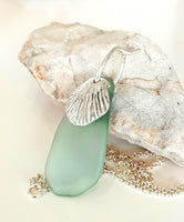 Blue Seaglass & Handcarved Seashell Pendant on Sterling Silver Chain