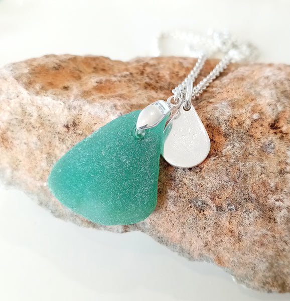 Jade Triangle Seaglass & Loveheart/Pawprint Tab on Sterling Silver Chain