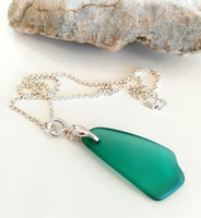 Teal Seaglass Drop Pendant on Sterling Silver Chain