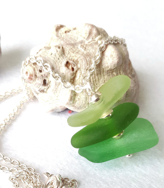 Mermaid Seafronds Necklace - Seaglass & Sterling Silver on Sterling Silver Chain