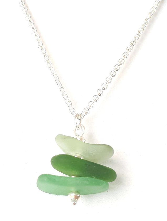 Seafoam Drop Pendant - Seaglass & Sterling Silver Necklace on Sterling Silver Chain - Seahorse