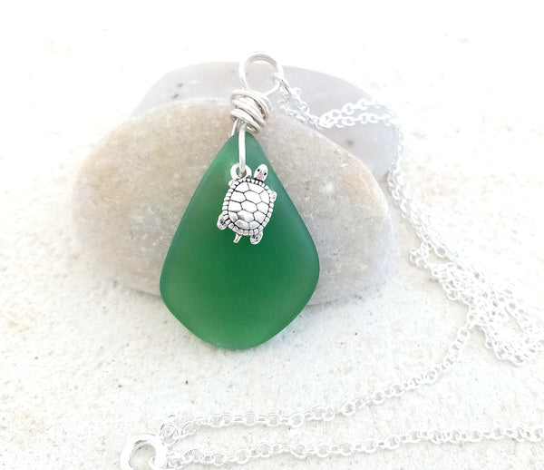 """Turtle"" & Emerald Green Seaglass Pendant"