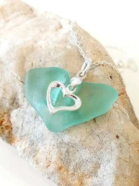 Whale Tail Blue Seaglass & Silver Loveheart Pendant on Sterling Silver Chain