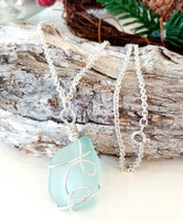 Blue Double Loop Seaglass & Silver Pendant on Sterling Silver Chain