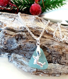 Dachshund Set ~ Blue Seaglass & Sterling Silver Pendant & Sterling Silver Earrings