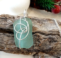 Flower Seafoam Seaglass & Silver Pendant on Sterling Silver Chain