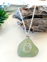 Soft Forest Green & Silver Hoops Pendant on Sterling Silver Chain