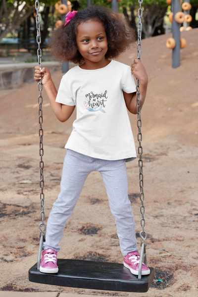 'Mermaid at Heart' Child - Organic T-Shirt - White