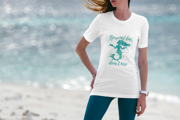 'Mermaid Hair, Don't Care' Organic T-Shirt - White