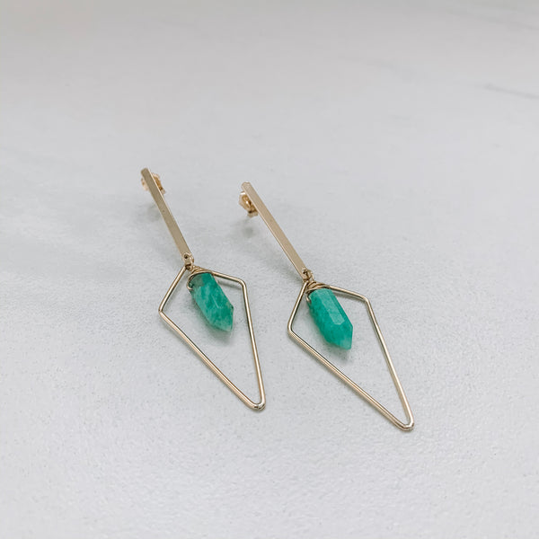 QUADRANGLE AND CRYSTAL BARS: AMAZONITE