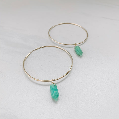 MINI CRYSTAL HOOP: AMAZONITE