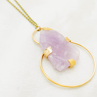 THE DOUBLE HOOP NECKLACE AMETHYST