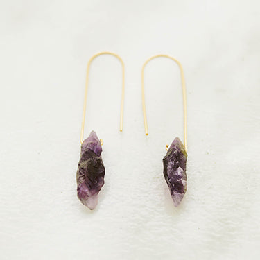 THE FISH HOOK AND AMETHYST EARRINGS
