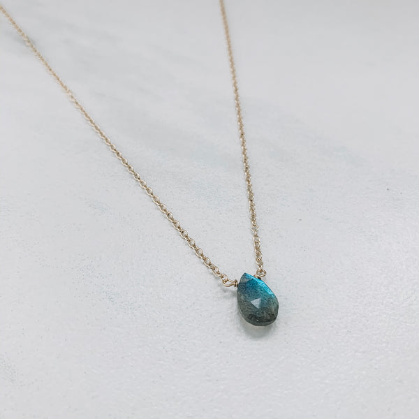 TEARDROP NECKLACE: LABRADORITE
