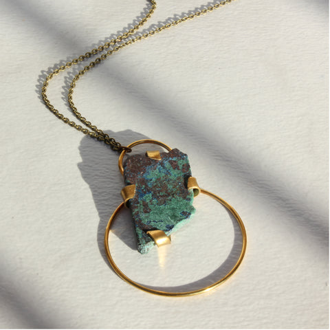 THE DOUBLE HOOP NECKLACE CHRYSOCOLLA