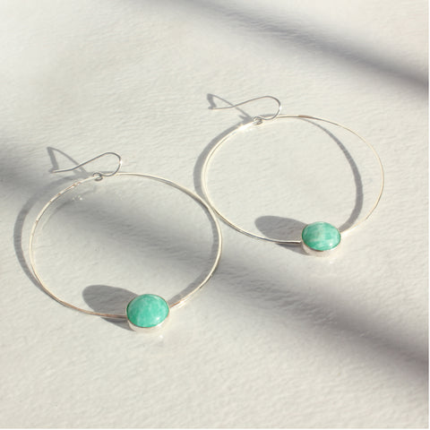 HOOP AND CAB EARRINGS AMAZONITE