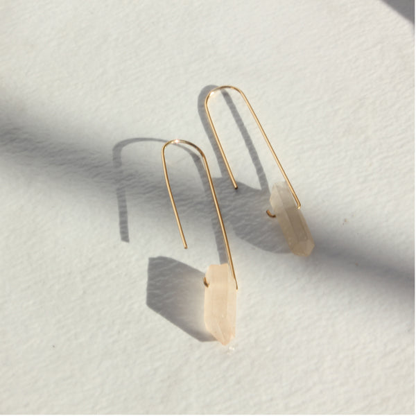 THE FISH HOOK AND QUARTZ EARRINGS