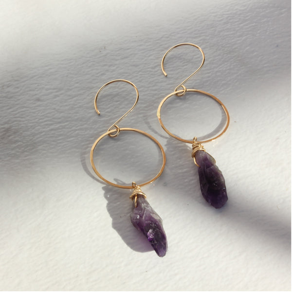 CRYSTAL FROM HOOP EARRING AMETHYST
