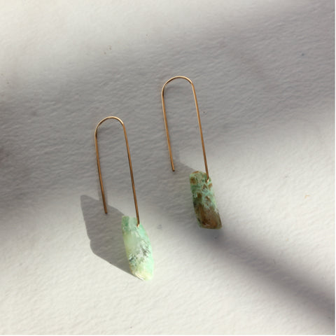 THE FISH HOOK AND CHRYSOPRASE EARRINGS