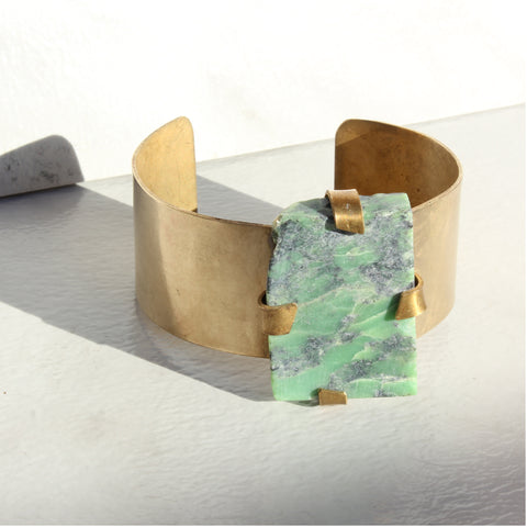 THE GEM AND BRASS CUFF CHRYSOPRASE