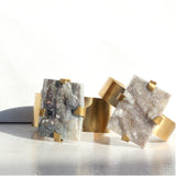 THE GEM AND BRASS CUFF RECTANGLE DRUZY