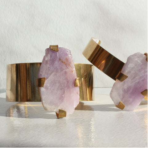 THE GEM AND BRASS CUFF AMETHYST