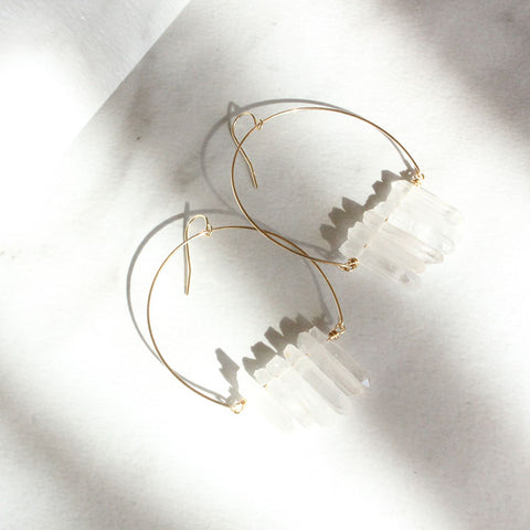 CRYSTAL WIRE HOOPS: CLEAR QUARTZ