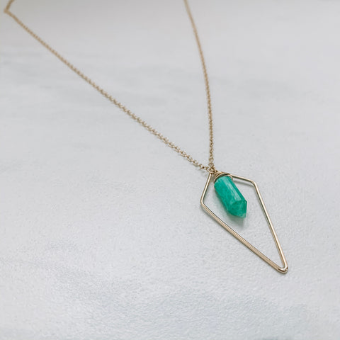 QUADRANGLE AND MINI CRYSTAL NECKLACE: AMAZONITE