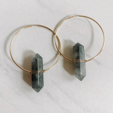 Smokey Quartz Statement Hoops