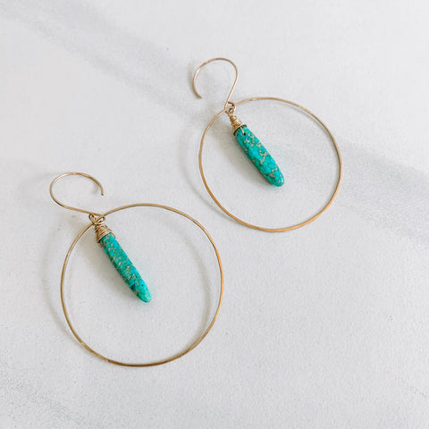 Blue Ocean Jasper Large Hoop Earrings