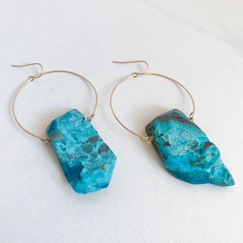 Chrysocolla Hoop Earrings