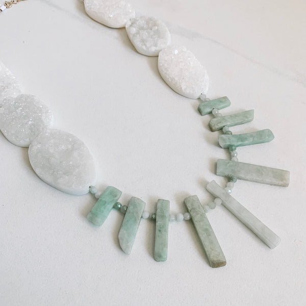 Scout Statement Necklace - Druzy and Jade