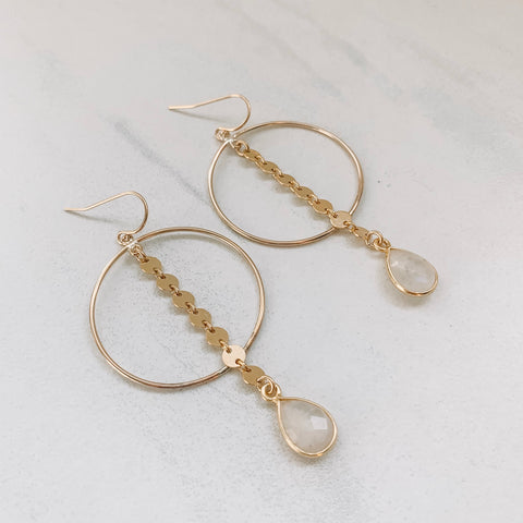 Coin and Moonstone Hoops