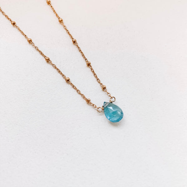 TEARDROP NECKLACE: AQUAMARINE