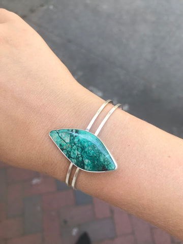 Sterling Silver and Chrysophase Bracelet