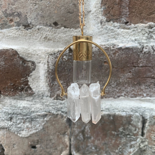 Clear Quartz Reverse Hanging Rollerball Necklace