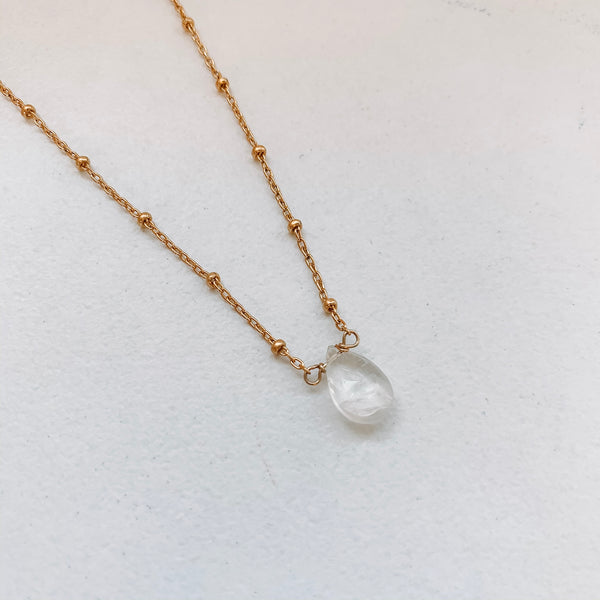 TEARDROP NECKLACE: RAINBOW MOONSTONE
