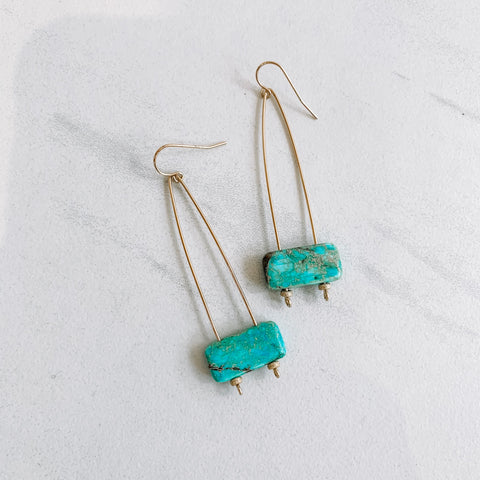 Blue Ocean Jasper V Drop Earrings