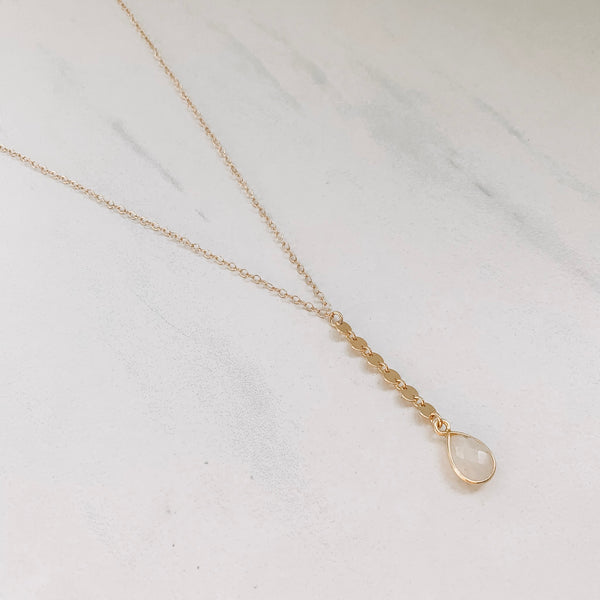 Circle Moonstone Drop Necklace