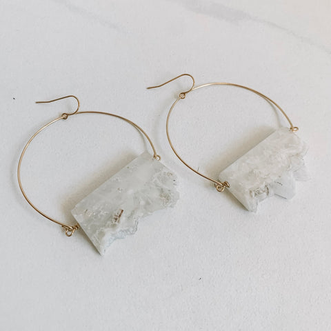 Clear Quartz Wire Hoops