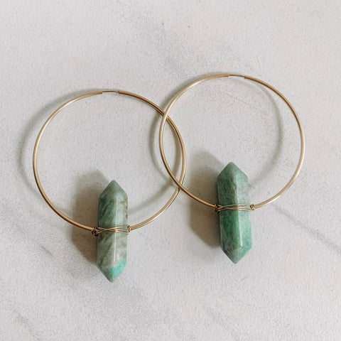 Amazonite Statement Hoops