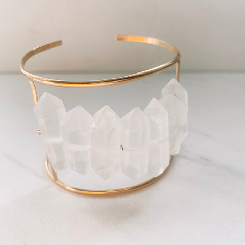 Clear Quartz Statement Cuff