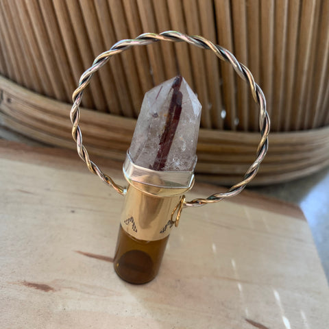 Rutilated Quartz Rollerball Necklace