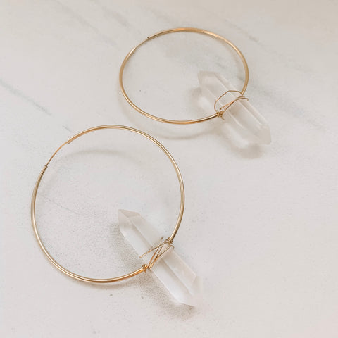 Clear Quartz Statement Hoops