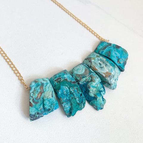 Raw Chrysocolla Statement Necklace