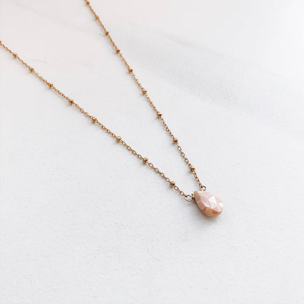 TEARDROP NECKLACE: PINK AUSTRALIAN OPAL