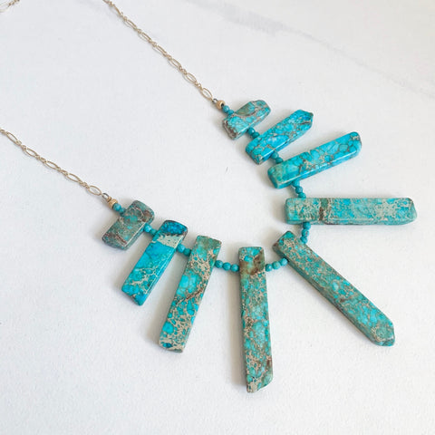 Ocean Jasper Spike Necklace