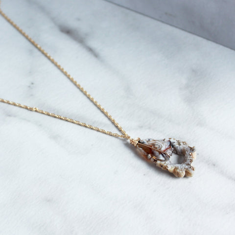 Long Wire Wrapped Geode Necklace-M.Liz Jewelry