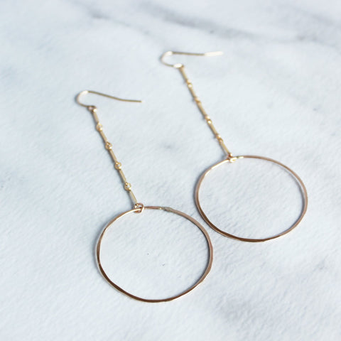 Single Hoop Straight Chain Earrings-M.Liz Jewelry